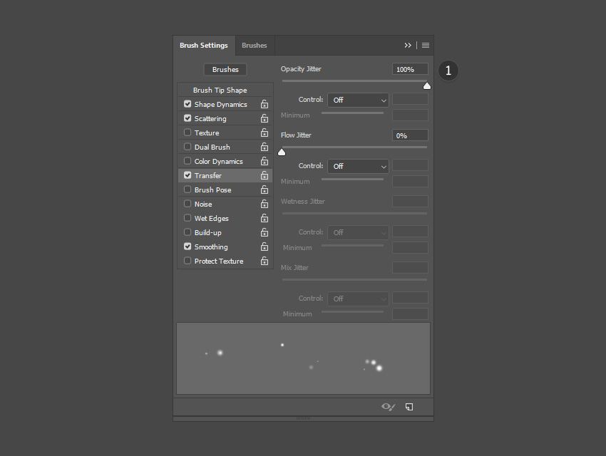 Select transfer for particles brush