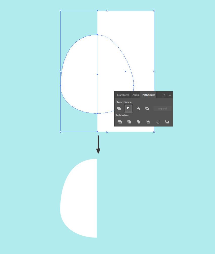 remove half of the shape