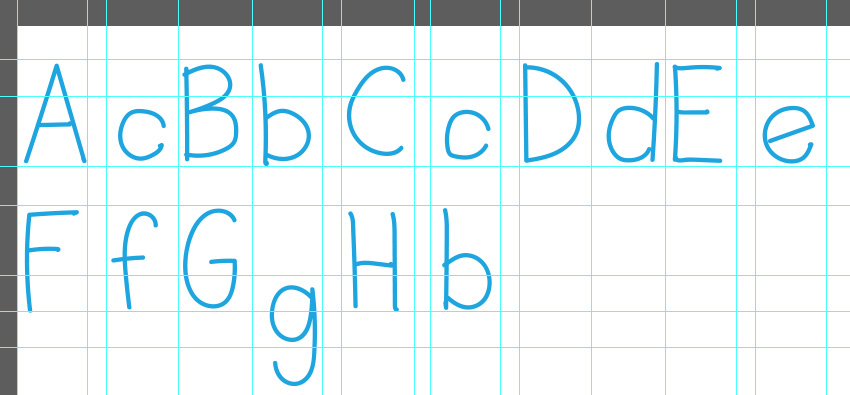 You can use grids in Photoshop to organize letters