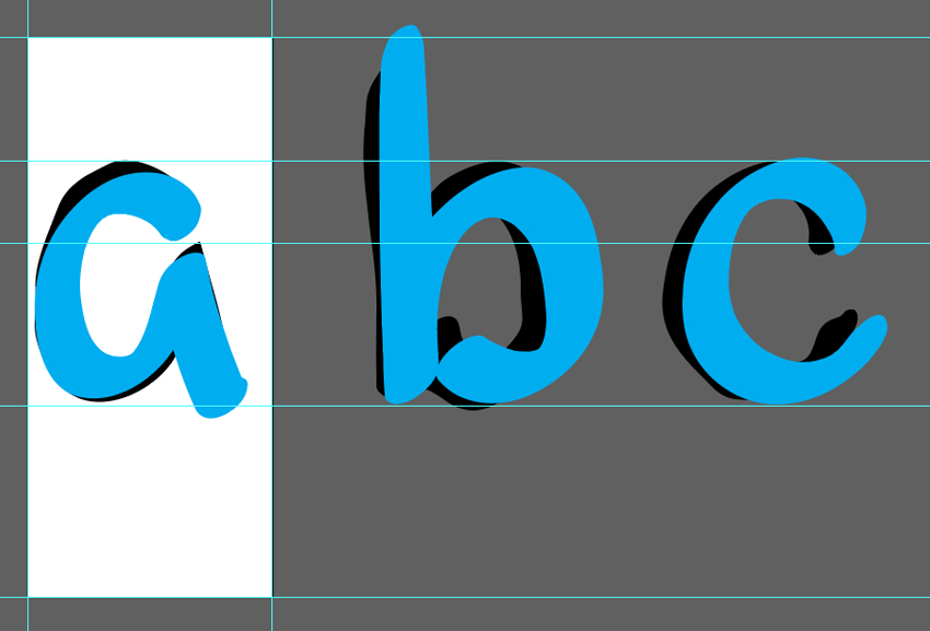 Trace over letterforms