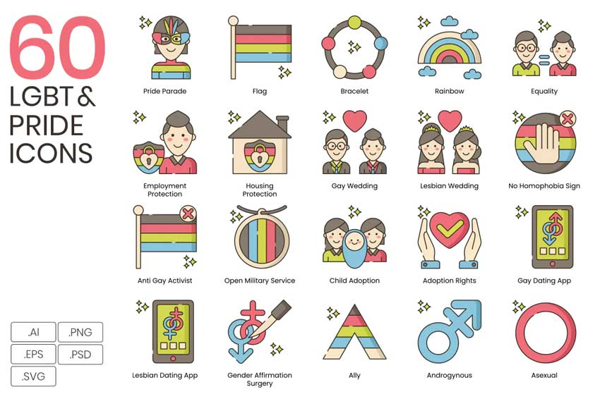 LGBT Line Icons