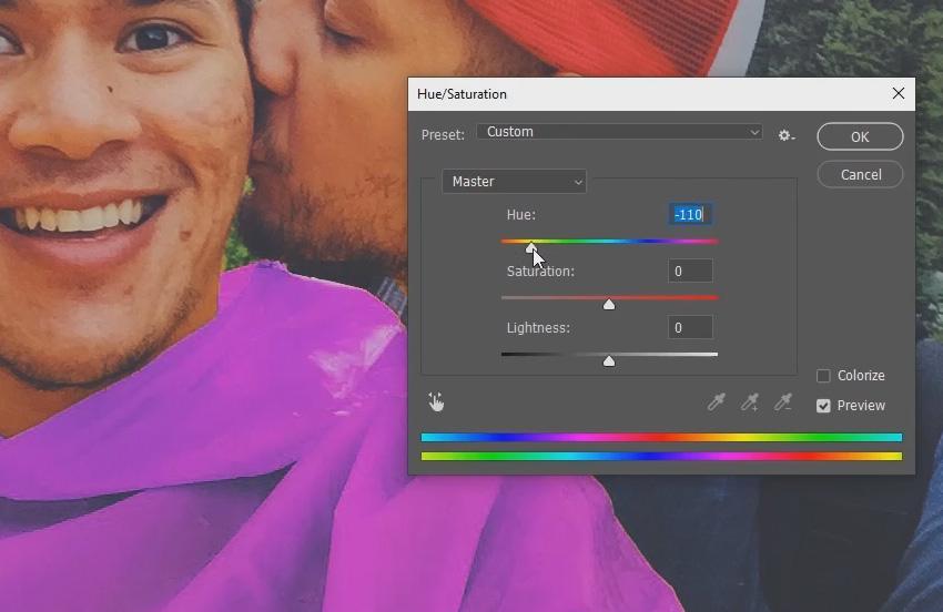 Adjust the hue slider