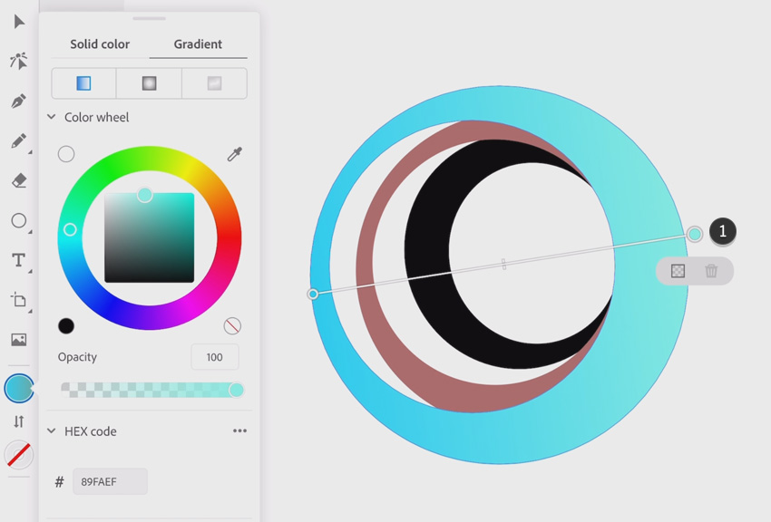 Choose your color for the gradient tool