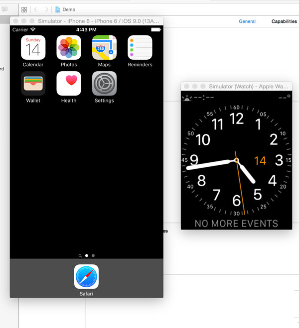 The iOS Simulator on the Left and the Apple Watch Simulator on the Right