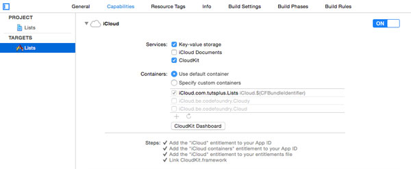 Enable CloudKit