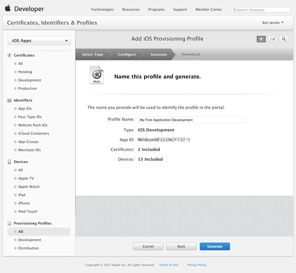 Generate the Provisioning Profile