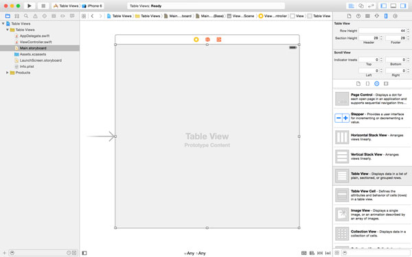 Adjusting the Dimensions of the Table View