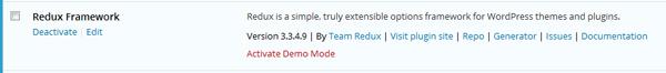 A Redux Framework entry on the installed plugin list