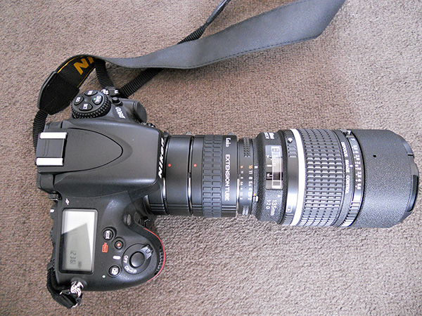 Kenko extension tubes attached to camera body and 135mm f2 lens