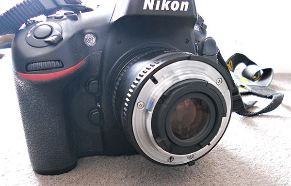 50mm lens reverse mounted on camera body using reversing ring