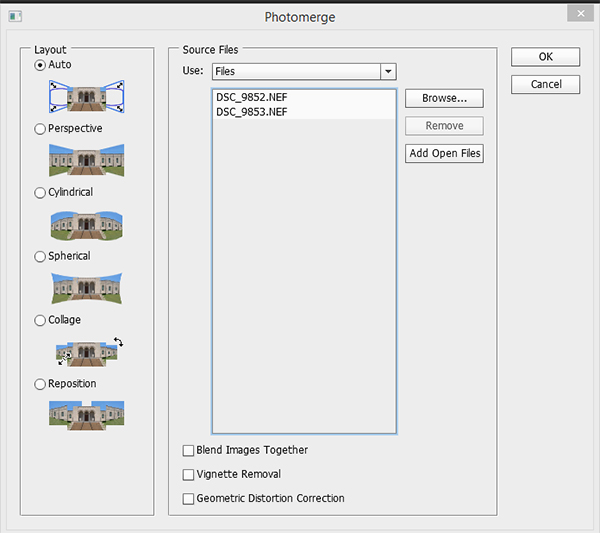 Screen-capture of photomerge options in Photoshop CS6