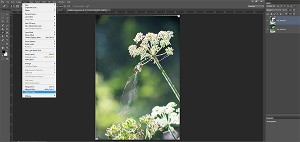 Screen capture of flattening an image in Photoshop