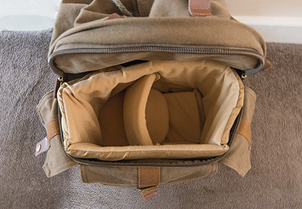 Padded compartment of rucksack