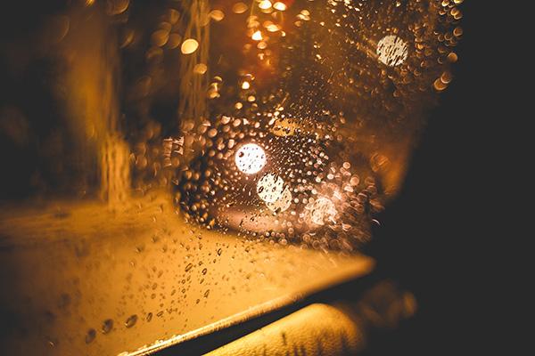 car rain bokeh