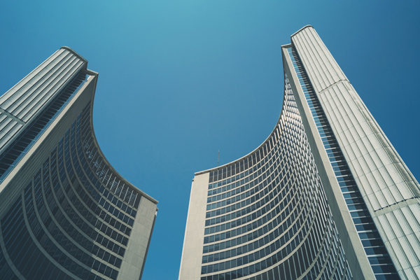 Toronoto city hall sky curves