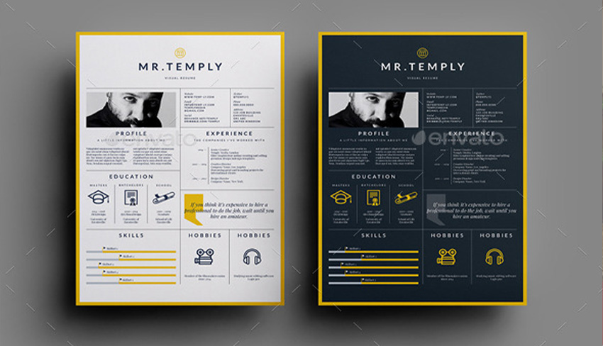 Striking Print Resume Templates For Visual Artists