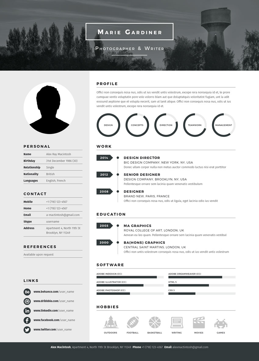 mono resume template from envato market