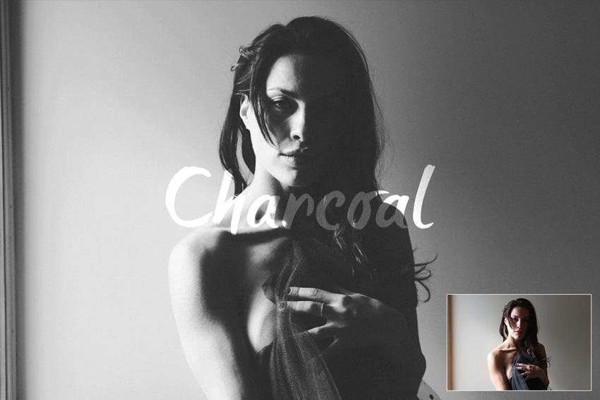 Charcoal Matte Black Photoshop Action