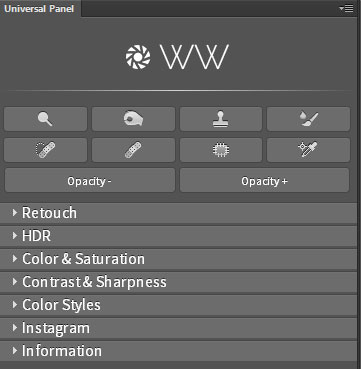Universal Photoshop Panel interface