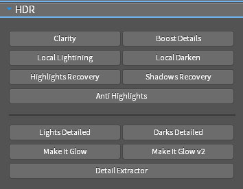 The HDR section of the Universal Photoshop Panel
