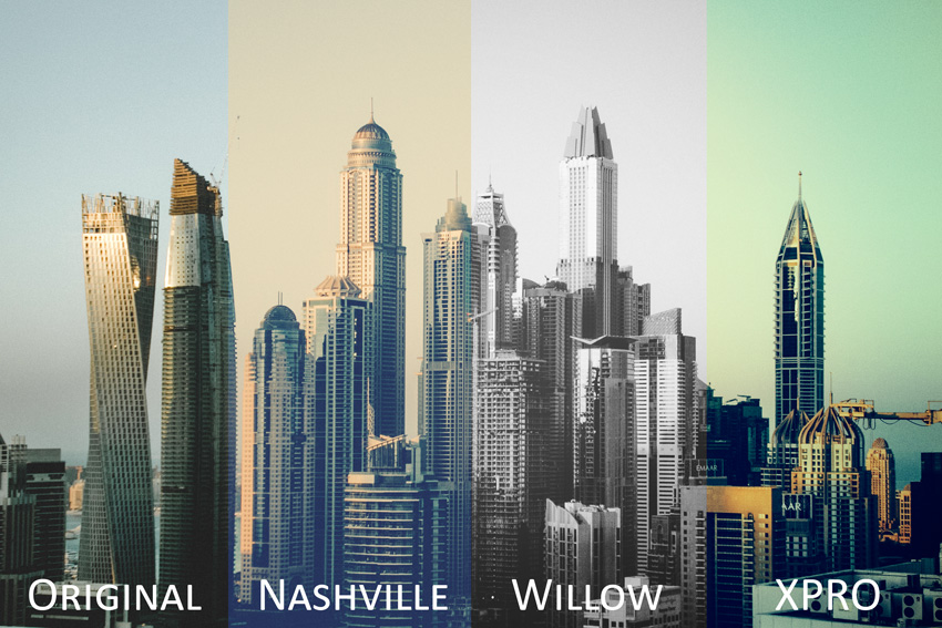 Cityscape divided into four sections to show the original and three presets applied