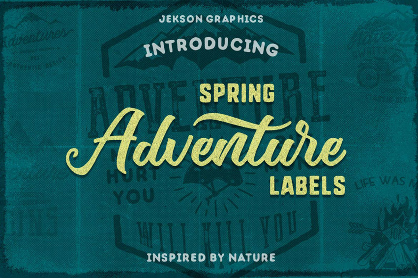 Spring Adventure Motivational Labels  Logo Brand