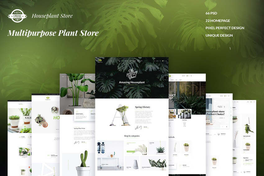 SPRING - Multipurpose Plant Store  Photoshop Template