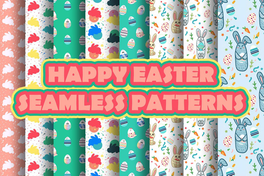 Happy Easter Patterns for Illustrator
