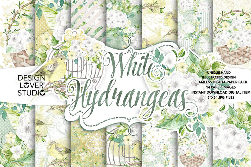 Watercolor White Hydrangea Digital Paper Pack