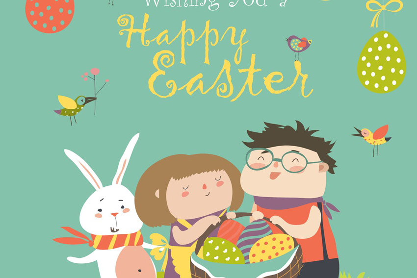 Happy children holding a basket of Easter Eggs  Greetings Card for Adobe Illustrator
