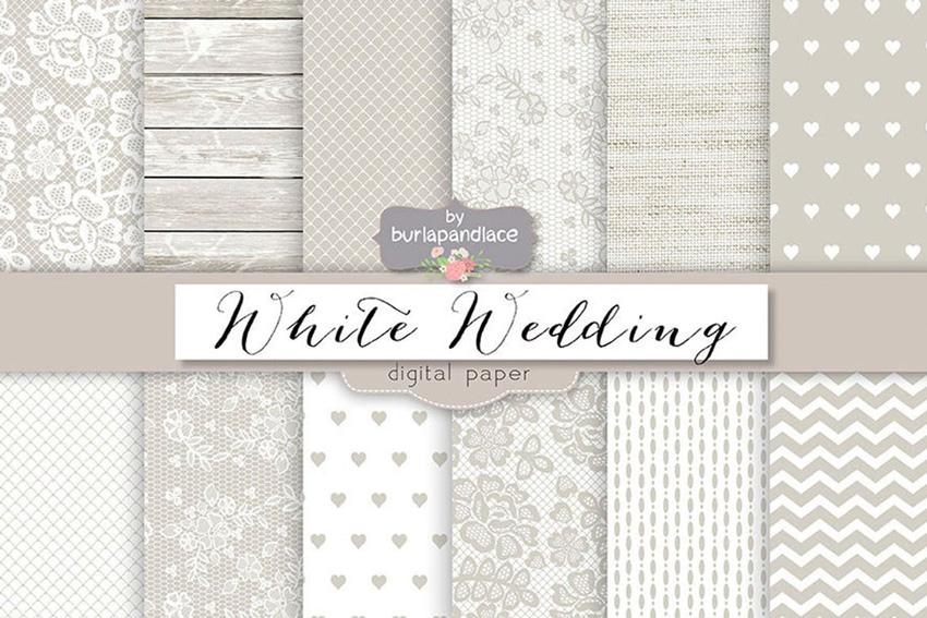 White wedding digital paper pack