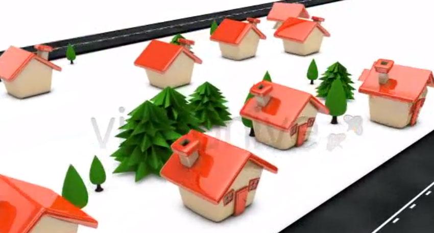 Cartoon Houses Building Up Along Roadside - Loop