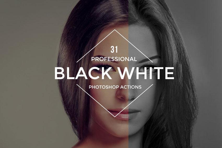 31 Professional Black  White Photoshop Actions