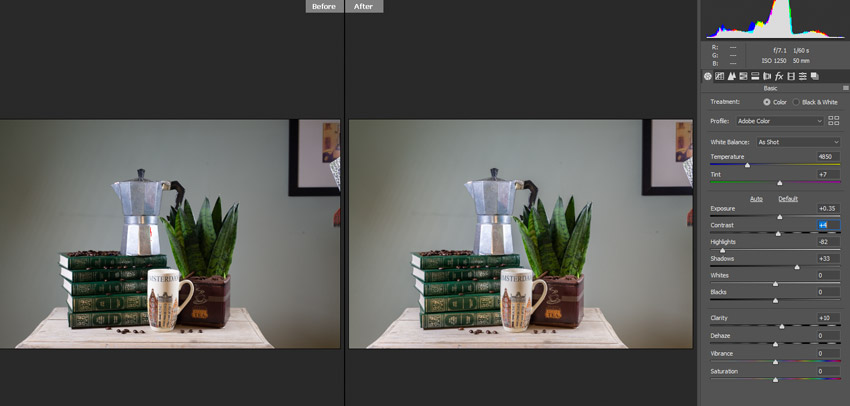 before and after in RAW