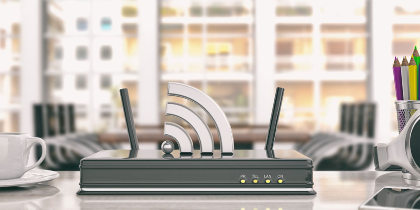 Wifi router in an office background 3d illustration by rawf8 via Envato Elements