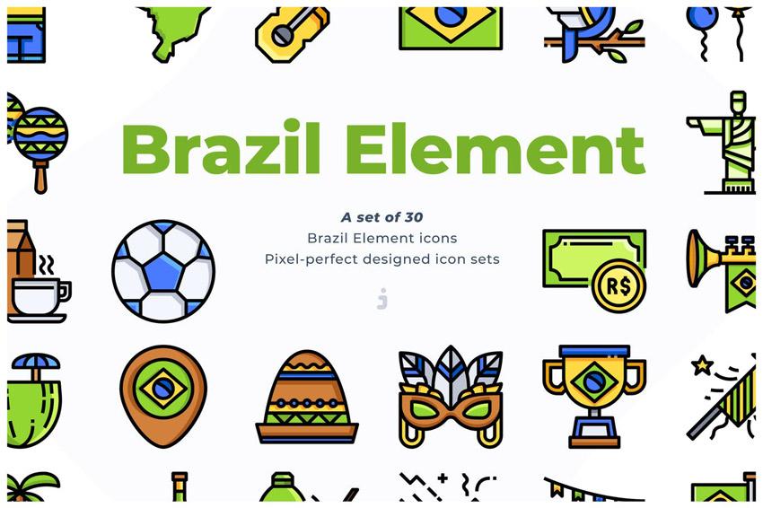30 Brazil Element Icons