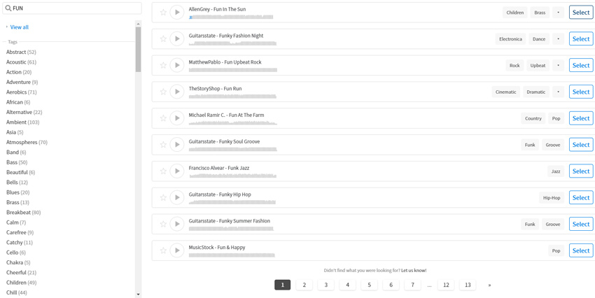 some of the music track options available on PlaceIt