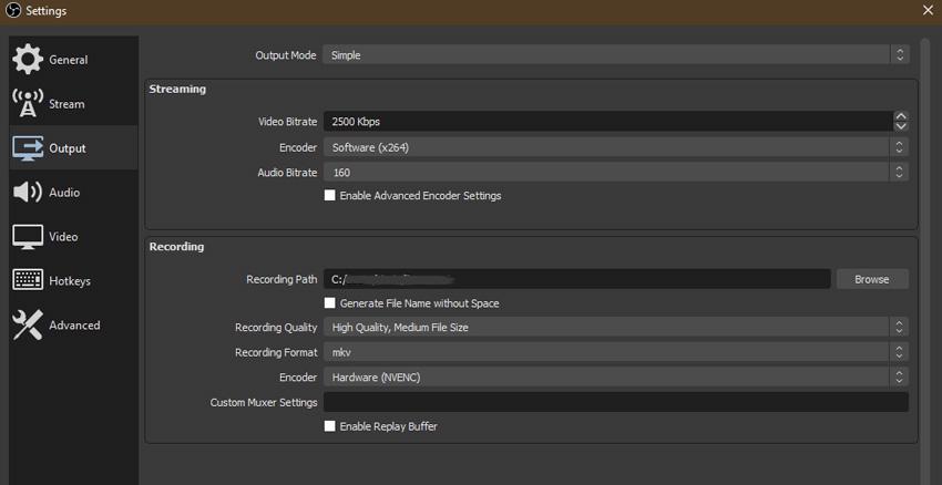 simple encoder settings