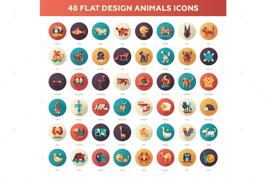 Flat Design Animals Icons Set