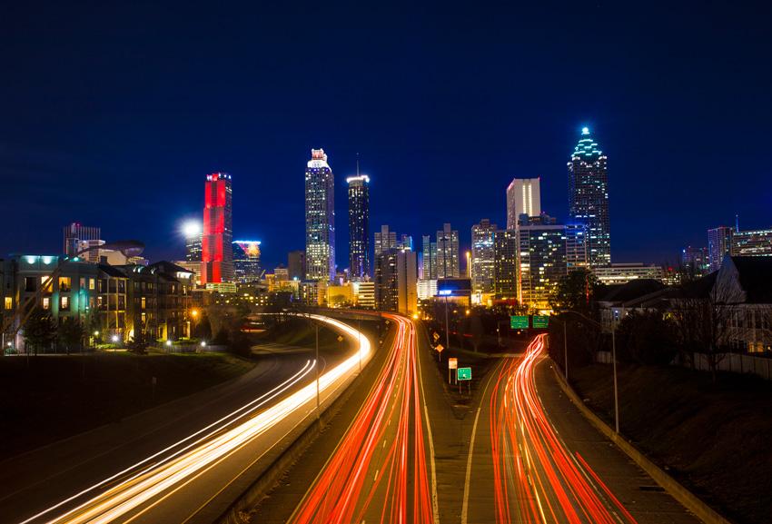 timelapse of traffic in downtown Atlanta
