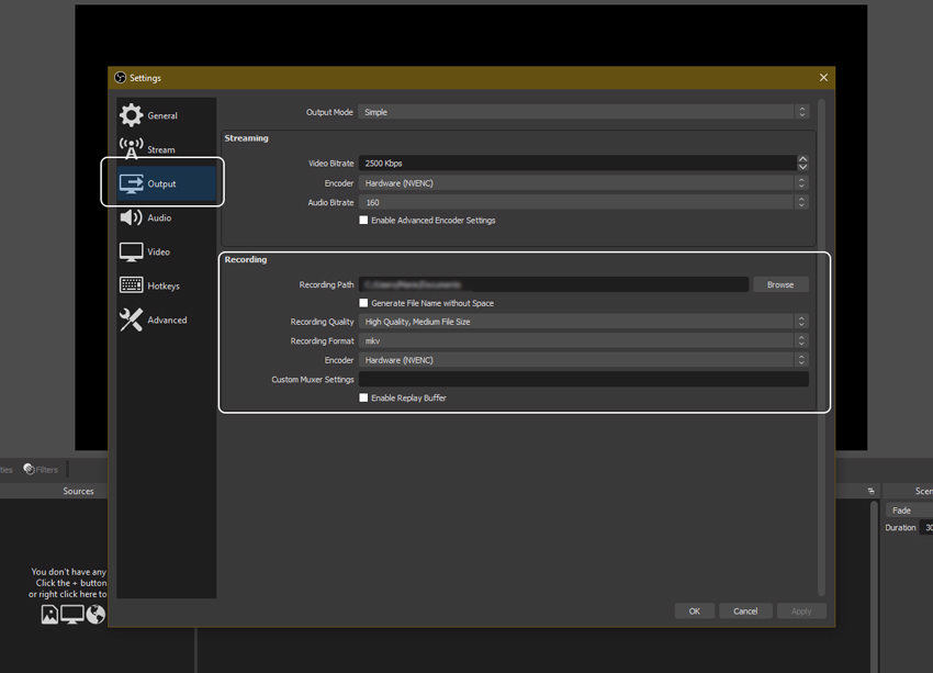 Output recording settings