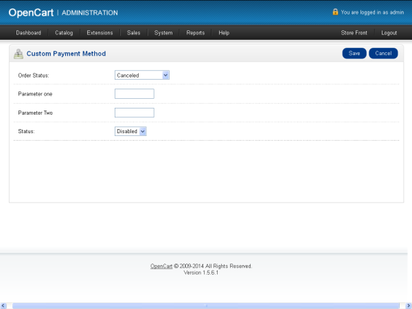 Custom Payment Method Configuration Form