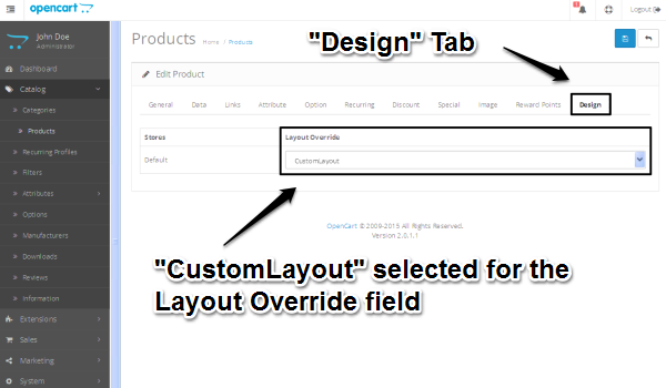 Layout Override drop-down box