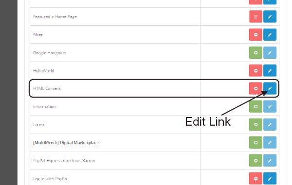 Edit HTML Content Module