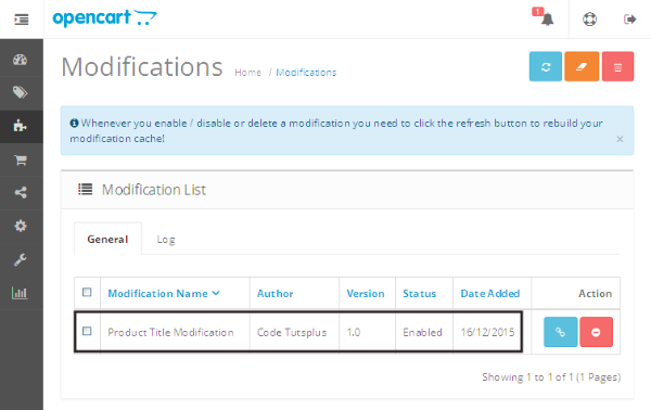 Modifications Listing Page