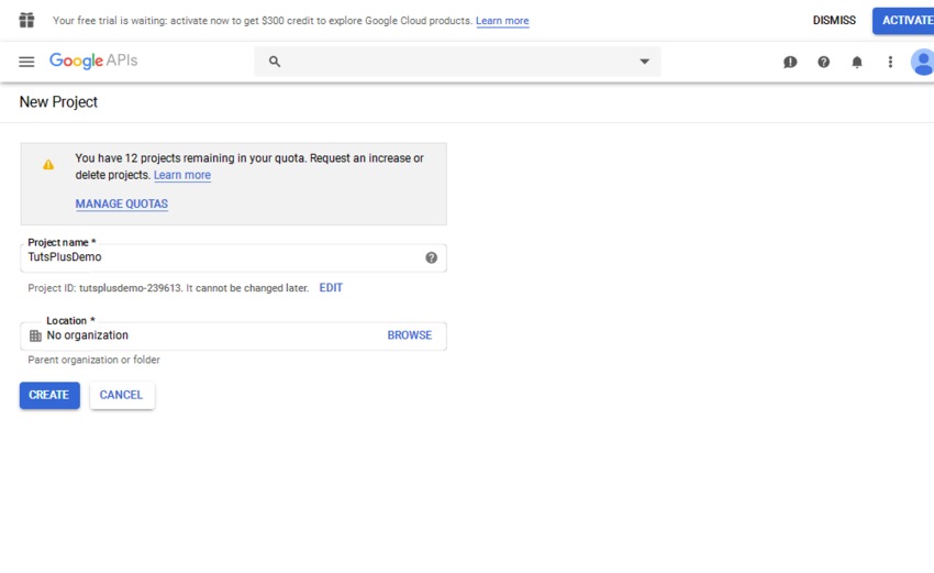 New Project page in Google Dashboard