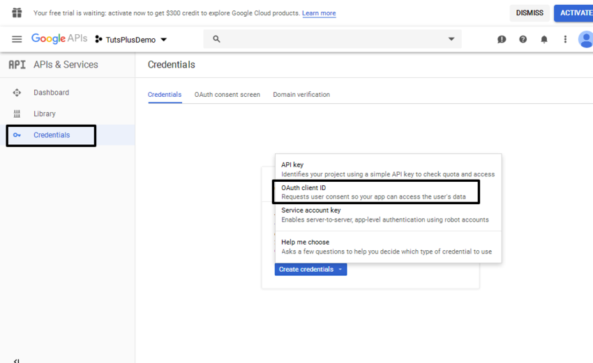 API Credentials selection in Google Dashboar