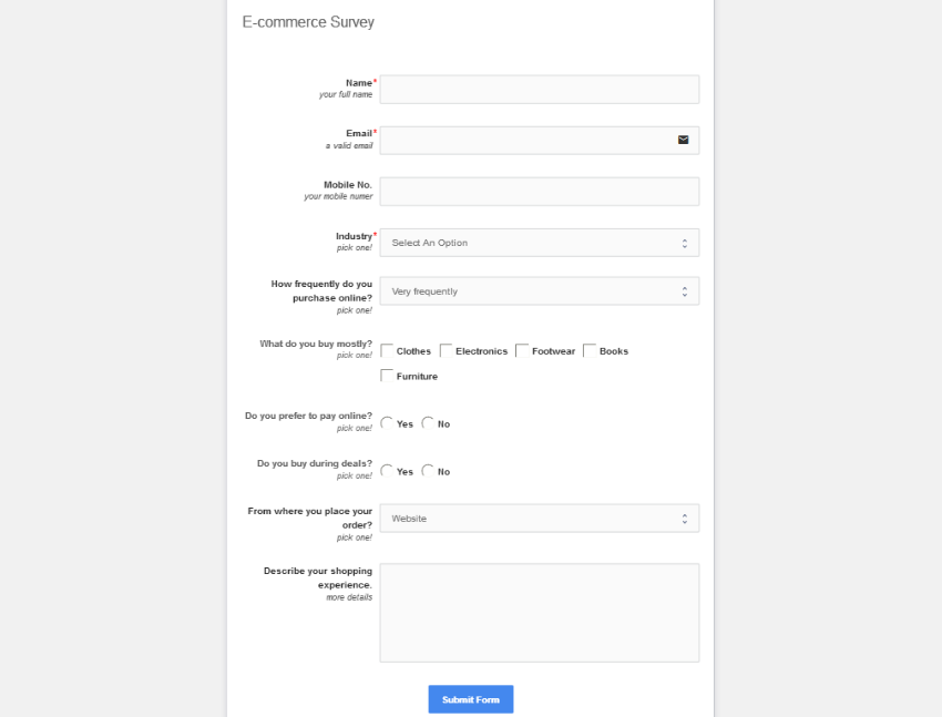 The completed survey form