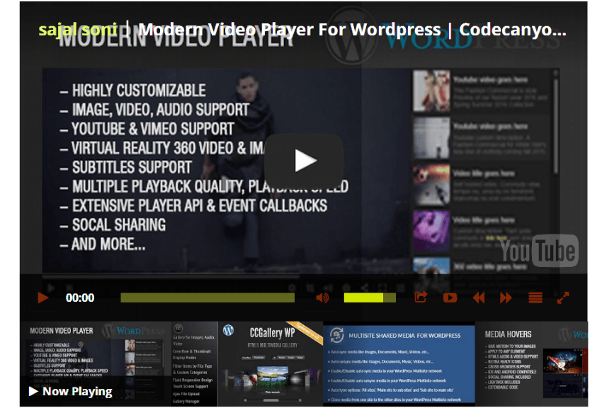 Completed YouTube video player