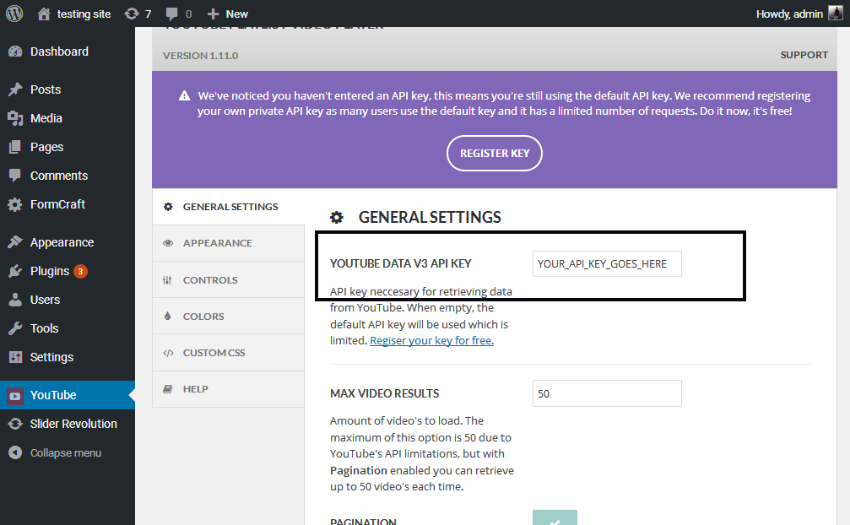 General settings - Register Key